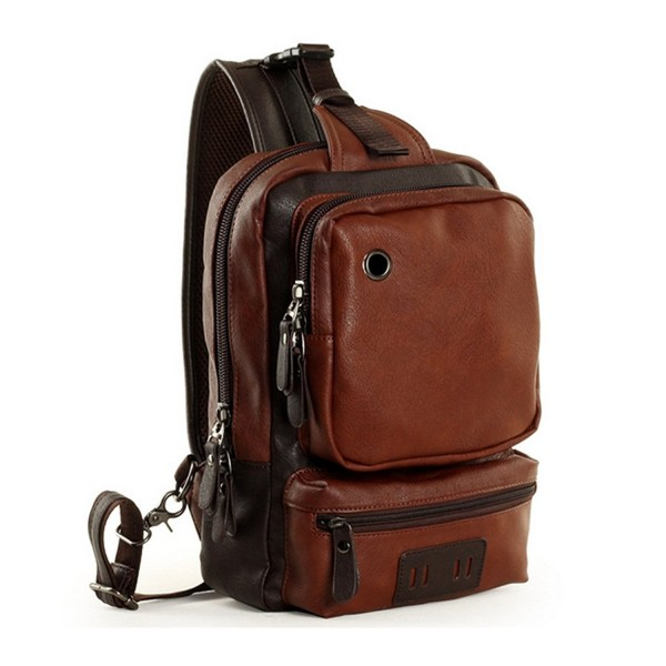 Men s Unbalance Chest Pack Leather Multipurpose Backpack Crossbody ... 20ced0fd703d