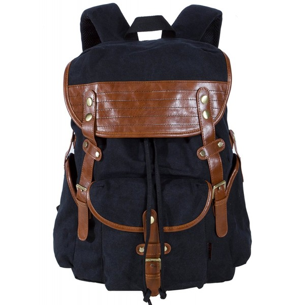 cd46bee768dd Vintage Canvas Leather Travel Rucksack Military Backpack Hiking ...
