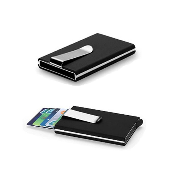 newest 1d5a9 88d27 Automatic Sliding Credit Card Holder Case Stainless Steel Slim Money Clip  Business Card Holder Wallet - Black - CC1859HU3RT