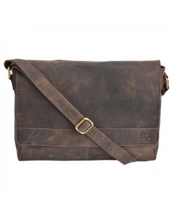 Estalon Leather Messenger Briefcase College