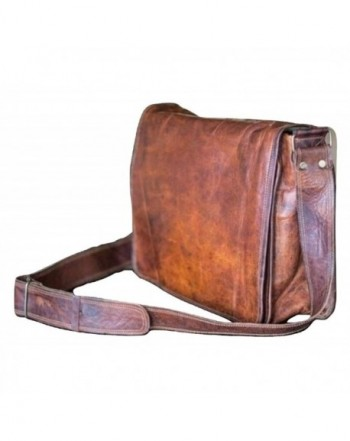 d202738cc588 13 inch Mens Genuine Vintage Leather Canvas Full Flap Messenger Bag ...