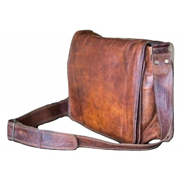 13 Inch Mens Genuine Vintage Leather Canvas Full Flap Messenger Bag Office Satchel School Briefcase Brown Cx188lxsl9d