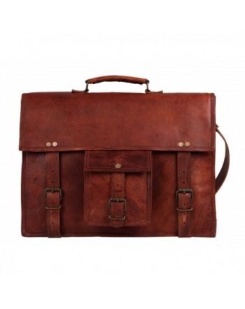 Vintage Crossbody Messenger Briefcase Distressed