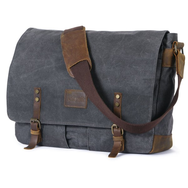 Lifewit Men Messenger Bag Waterproof Waxed Canvas Trim Leather Computer Laptop 15 6 Briefcase Cn183ewczcc