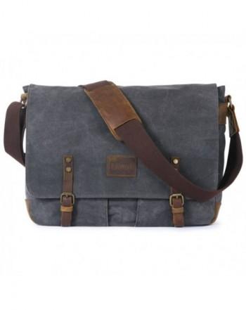 00a1891e92 Lifewit Men Messenger Bag Waterproof Waxed Canvas Trim Leather ...
