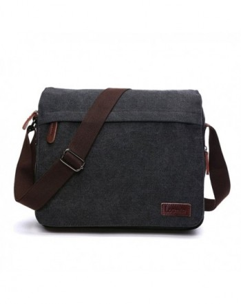 e11938fe4f Messenger Bag Laptop Shoulder Bags Vintage Canvas Crossbody Bag For Men -  Black - CK187CCOQKG