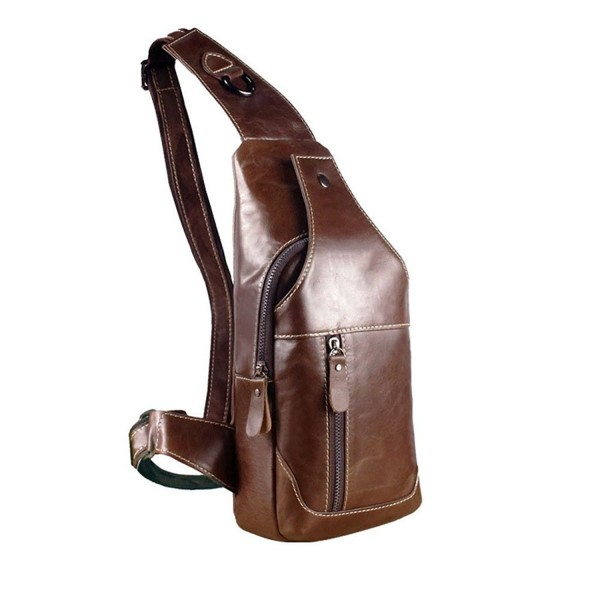 united states buying now Good Prices Men's Genuine Leather Sling Bags Chest Shoulder Bag Crossbody Satchel  Backpack - Brown w/o logo - CF189QIHAED