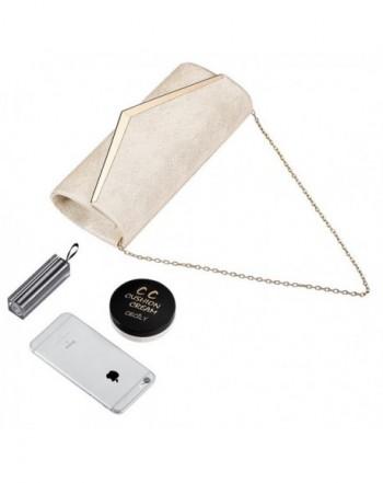 3b69df0e199 Womens Evening Clutch Bag Wedding Purse Bridal Prom Handbag Party Bag Hard  Case with Detachable Chain - Beige - C9185XR36E0