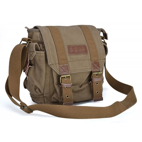 a2e60f0b4 ... Vintage Canvas Messenger Bag Small Shoulder Bag Crossbody Satchel - Army  Green - CT11BRYMT81. Gootium Vintage Messenger Shoulder Crossbody