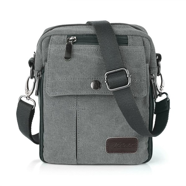 974e22a161 ... Men s Small Vintage Multipurpose Canvas Shoulder Bag Messenger Bag Purse  - Gray - CW11WZ5M2K1. Zicac Vintage Multipurpose Shoulder Messenger