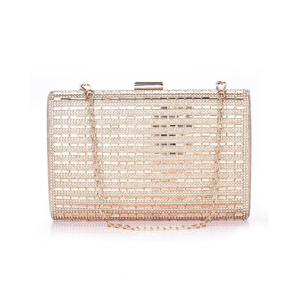 0c7dab00b6c1 Ladies Evening Bags Clutch Purse For Women Formal Box Rhinestone Wedding  Bridal Party Purse Handbag - Gold - CT188E2AWOS