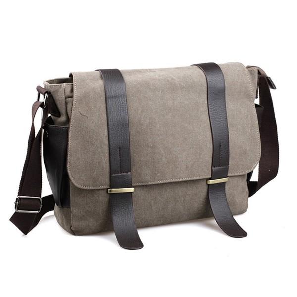 Mens Messenger Bag Canvas Laptop Vintage School Large Crossbody Bags For Men Khaki C41872o8m89