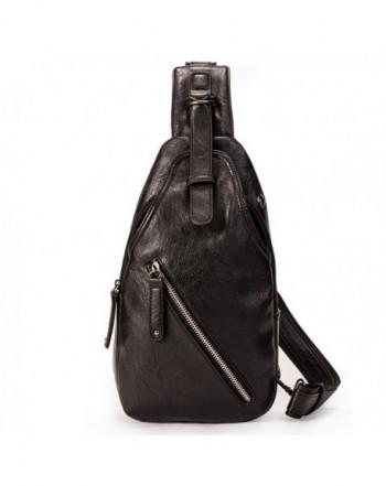 AL PLANET Leather Shoulder Crossbody Backpack