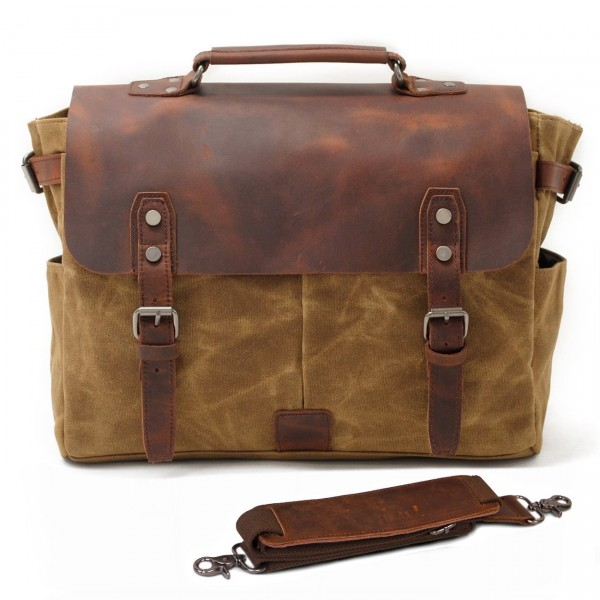 SUVOM Messenger Leather Briefcase Bookbag