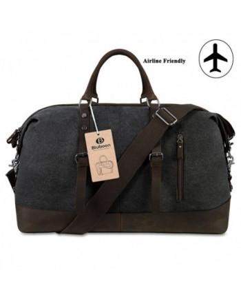 Weekender Overnight Bag Canvas Genuine Leather Travel Duffel Tote ... d4b7fddd1b701