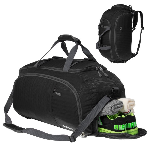 3 Way Travel Duffel Bag Backpack Luggage Gym Sports With Shoe Compartment For Men And Women Black C9184x7ywzu
