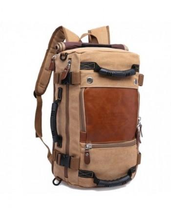 c8c6283867 Canvas Hiking Backpack Camping Bag Travel Rucksack Backpack Khaki -  C017AAKL5R0