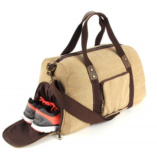 Duffel Compartment Canvas Weekender Khaki
