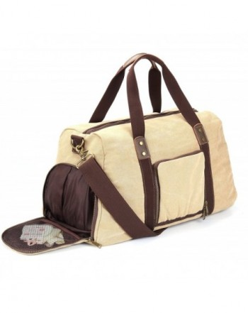 61ca917dae35 Duffel Bag with Shoe Compartment Canvas Weekender Tote - Khaki - CU185GSGYSN