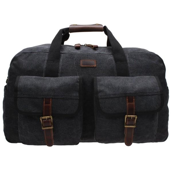 b0f1a97170b6 Extra Large Canvas Travel Bag Carry On Luggage Tote Handbag Multi Pocket  Duffel Dx-001 - Dark Grey - CS12JU60ILH