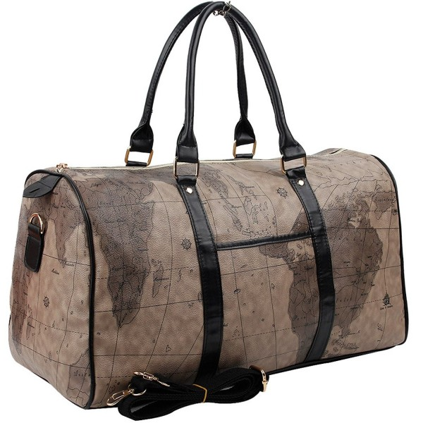 42fd66ec75ac World Map Large Duffle Bag Travel Tote Luggage Boston Style - chocolate  black - CX1868KTH0T