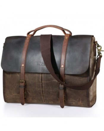 d7f338bcb1b0 Men s Messenger Bag Waterproof Leather Waxed Canvas Laptop Satchel ...