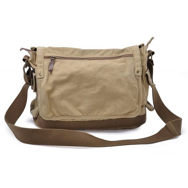 f1b13c1801 Vintage Canvas Messenger Bag Classic Cross-body Shoulder Bag - Khaki ...