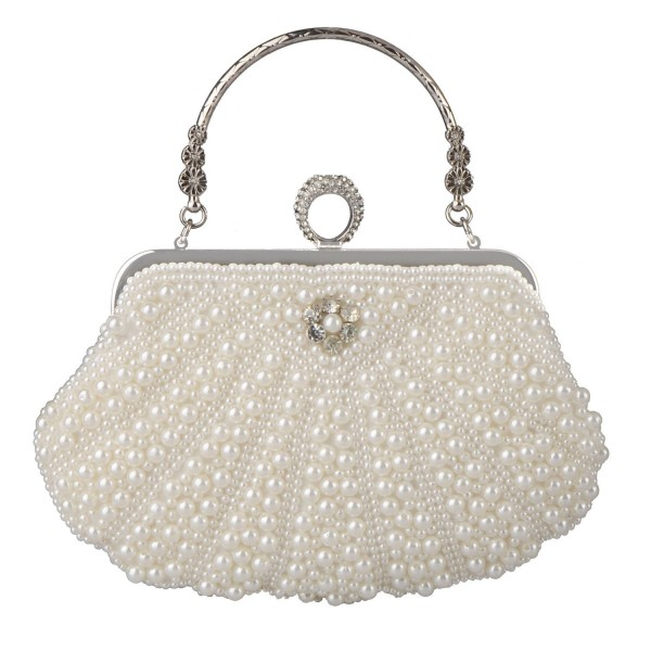 fc816ec46b95 Women's Evening Bag Pearl Crystal Bag Shell Handbag fit Wedding Party  Beautiful Luxury Purses - White - CK186U7HYLZ
