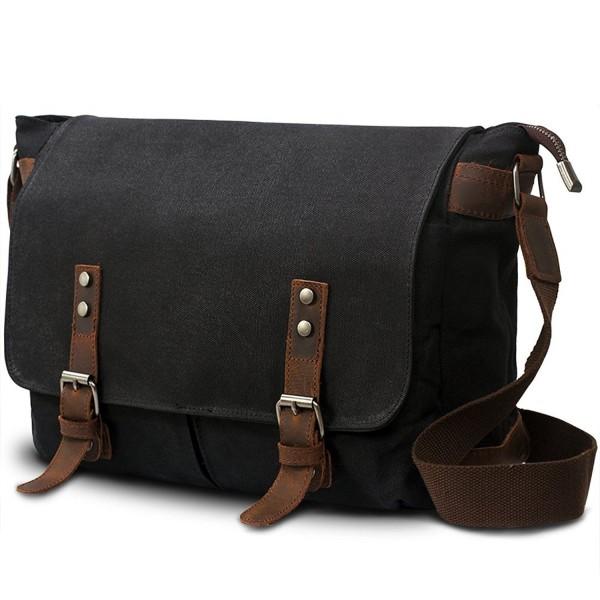 Mens Canvas Leather Laptop Messenger Bag
