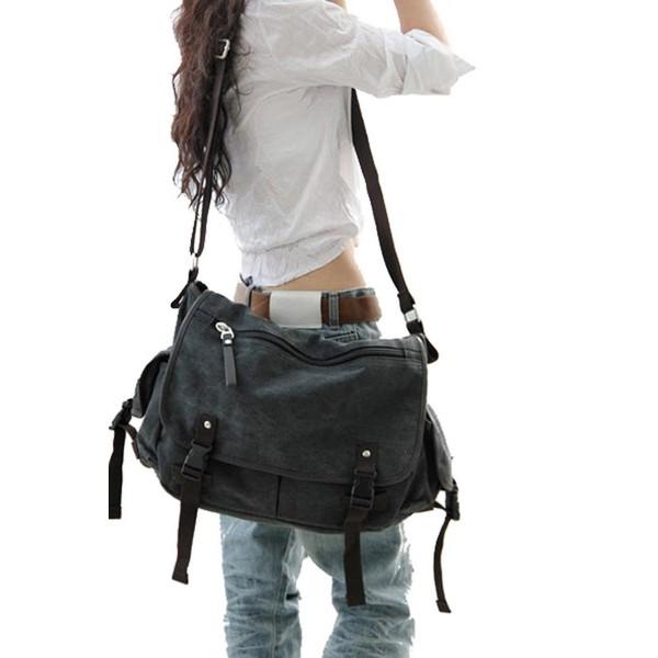 Vintage Canvas Messenger Bag Book Laptop Shoulder School Ladys Women Men New Black Cv18528im4o