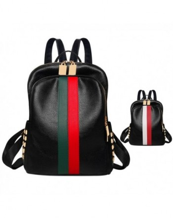 Lightweight Leather backpack shoulder Red green