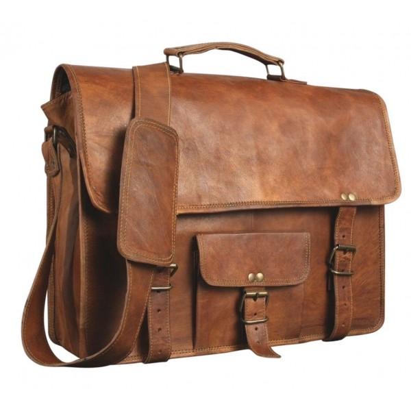 15 Inch Pocket Leather Messenger Satchel