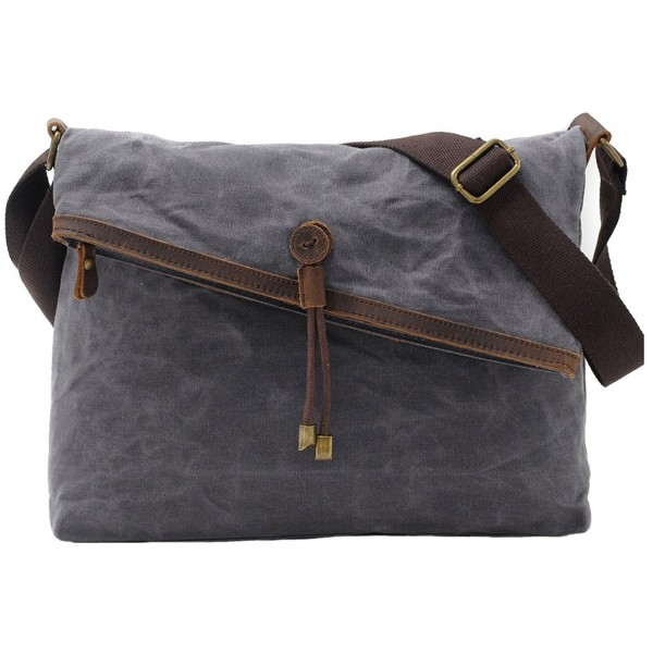 Crossbody Bags Waxed Canvas Vintage Genuine Leather Trim Fold Over Bag Uni Gray Cp17yu2aqga