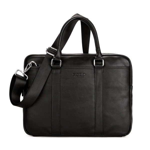 ... Leather Laptop Handbag Messenger Mens Business Bag - black -  C117YCXU7U0. VICUNA POLO Briefcases Messenger Business 3bf3eb2445c71