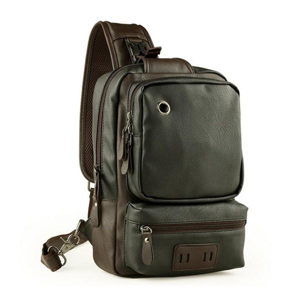 6285422f2d1f Men's Unbalance Chest Pack Leather Multipurpose Backpack Crossbody Shoulder  Bag Travel Sling Bag - Black - CV12NT88OD6