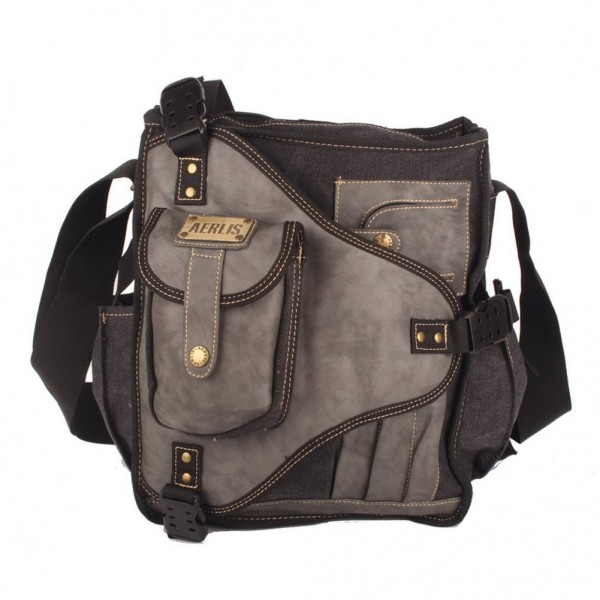 Men s Canvas Shoulder Bag Messenger Day Pack - Black - C911SSKFX0X 829ebfdce2f7a