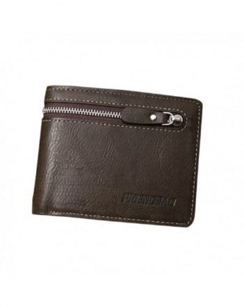Sandistore Zipper Leather Bifold Wallet