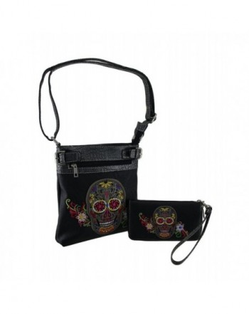 Black Embroidered Conceal Crossbody Wallet