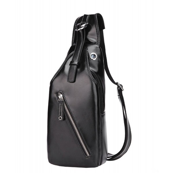 Leather Chest Shoulder Backpack 34Black