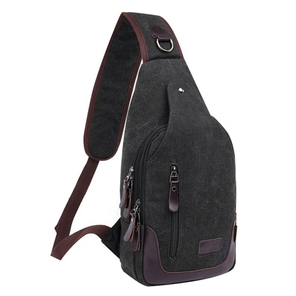6987af38398 Unisex Casual Canvas Backpack Crossbody Sling Bag Shoulder Bag Chest ...