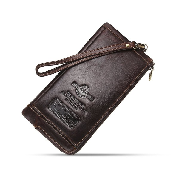 ee015eb97502 Mens Genuine Leather Credit Card Zipper Pocket Phone Holder Clutch Purse  Long Wallet - Dark Coffee - CI18278K67O
