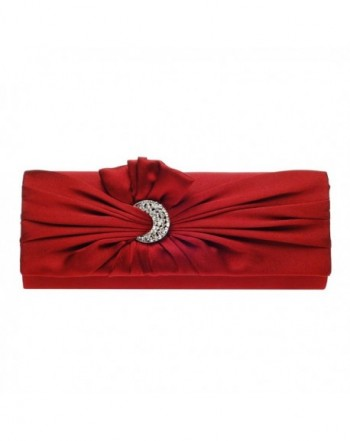 bace2c68348c Womens Pleated Satin Moon Shape Crystal Clutch Evening Bag - Red -  CQ11B47U4UV