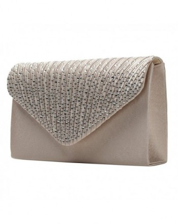 HONEYJOY Envelope Rhinestone Handbags Champagne
