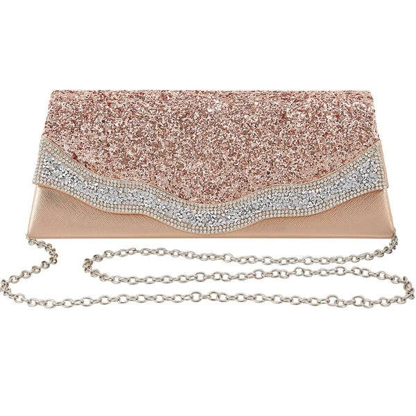 Naimo Rhinestone Envelop Evening Champagne
