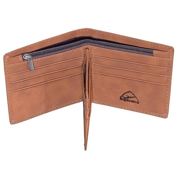 Hopsooken Leather Bifold Wallet Trifold