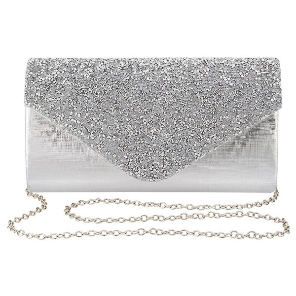 be1ee0d0e1ae Womens Evening Bag Handbag Clutch Purse Rhinestone-Studded Flap for ...