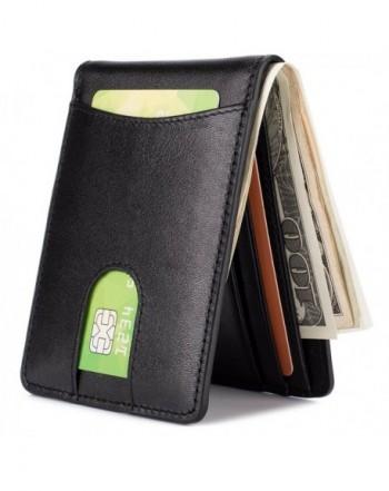 Leather Wallet Pocket Billfold Blocking Black