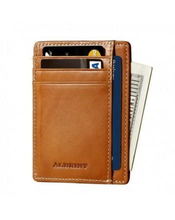 Albrint Wallets Blocking Leather Minimalist
