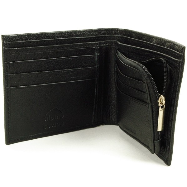 Leather Wallet Zipper Pockets Section