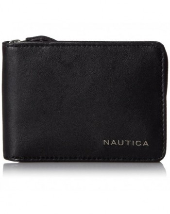 Nautica Mens Leather Wallet Black